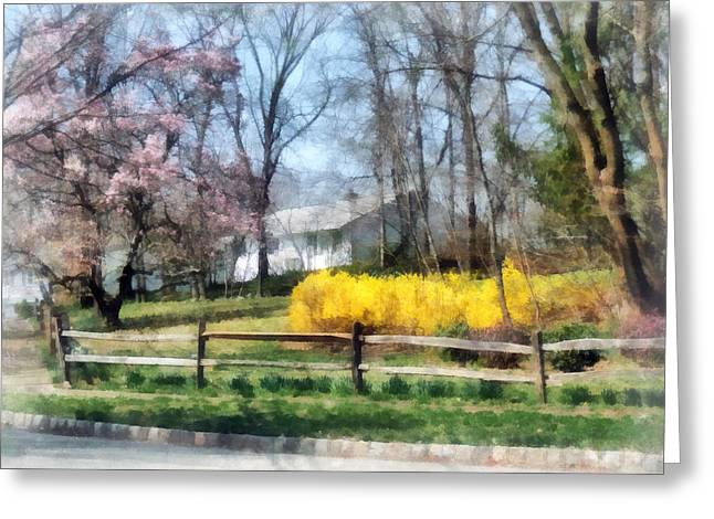 Flowering Trees Greeting Cards - House With Magnolias and Forsythia Greeting Card by Susan Savad
