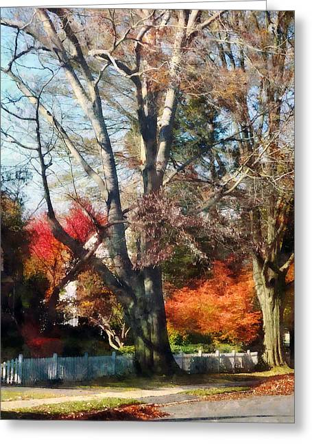 Fence Greeting Cards - House With Picket Fence in Autumn Greeting Card by Susan Savad