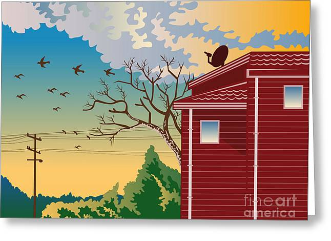 House Greeting Cards - House With Satellite Dish Retro Greeting Card by Aloysius Patrimonio
