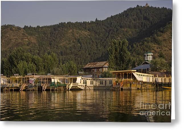Dal Lake Greeting Cards - Houseboats Greeting Card by Hitendra SINKAR