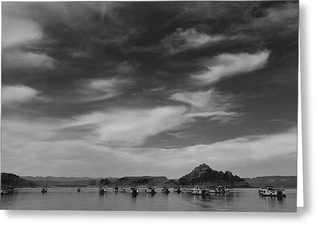 Houseboats on Lake Powell Greeting Card by Andrew Soundarajan