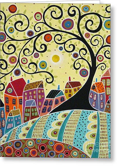 Swirl Tree Greeting Cards - Houses and a Swirl Tree Greeting Card by Karla Gerard