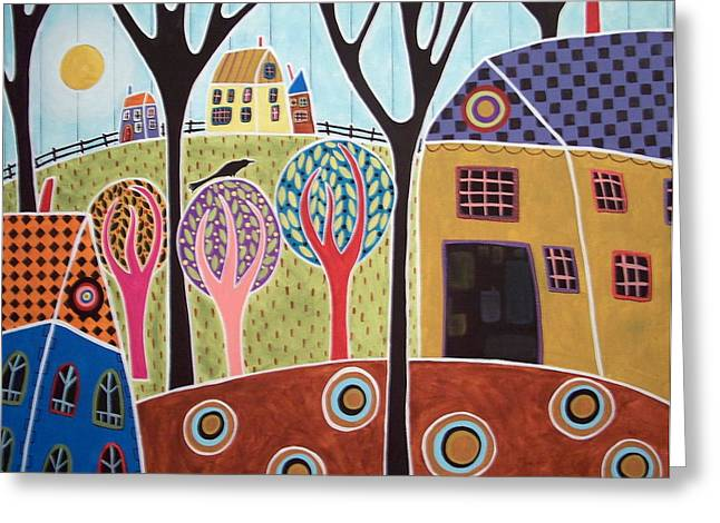 Primitive Greeting Cards - Houses Barn And Trees Greeting Card by Karla Gerard