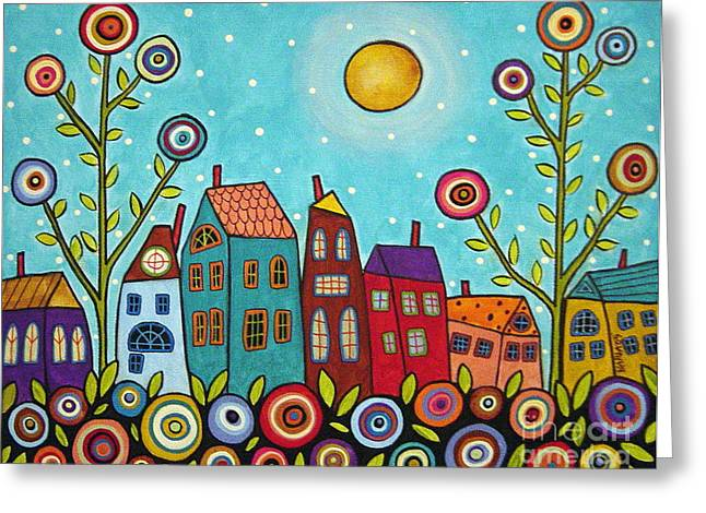 Landscape Mixed Media Greeting Cards - Houses Blooms And A Moon Greeting Card by Karla Gerard