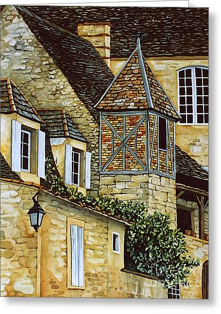 Scott Nelson Paintings Greeting Cards - Houses in Sarlat Greeting Card by Scott Nelson
