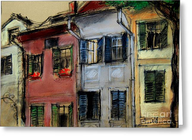 Medieval Pastels Greeting Cards - Houses In Transylvania 1 Greeting Card by Mona Edulesco