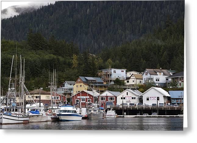 Port Town Photographs Greeting Cards - Houses Line Ketchikan Harbor Greeting Card by Melissa Farlow