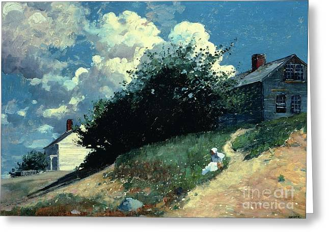 Clapboard House Greeting Cards - Houses on a Hill Greeting Card by Winslow Homer