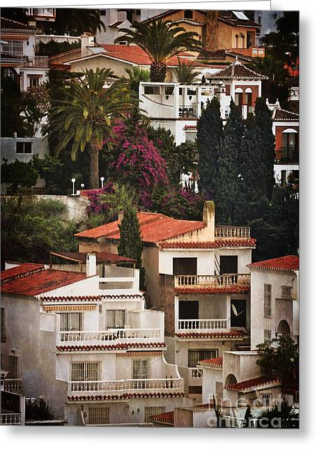 The Hills Digital Art Greeting Cards - Houses on the Hill Nerja Greeting Card by Mary Machare