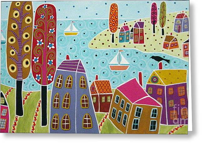 House Greeting Cards - Houses Trees And Sailboats By The Bay Greeting Card by Karla Gerard