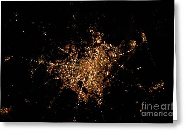 Aerial Photograph Greeting Cards - Houston, Texas At Night Greeting Card by NASA/Science Source