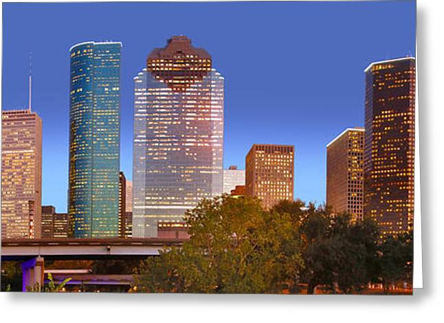 High Rise Greeting Cards - Houston Texas Skyline at DUSK Greeting Card by Jon Holiday