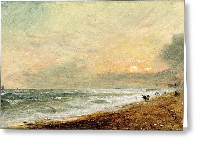 Romanticism Greeting Cards - Hove Beach Greeting Card by John Constable