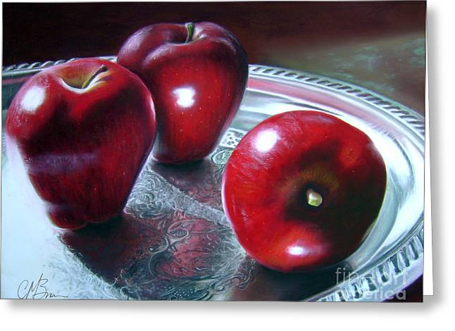 Shiny Pastels Greeting Cards - How About Them Apples Greeting Card by Colleen Brown
