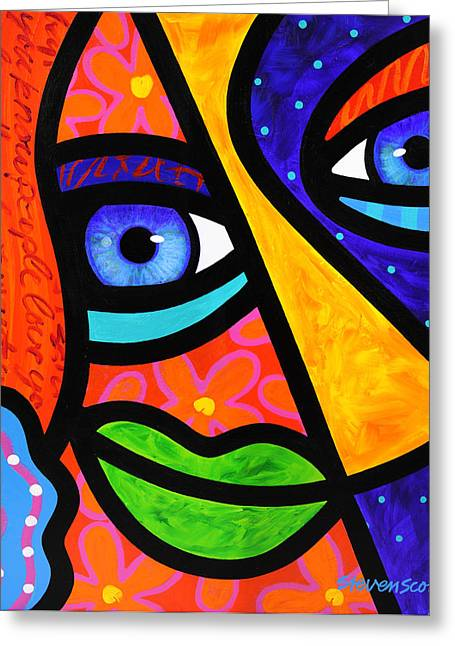 Abstract Faces Greeting Cards - How Do I Look Greeting Card by Steven Scott