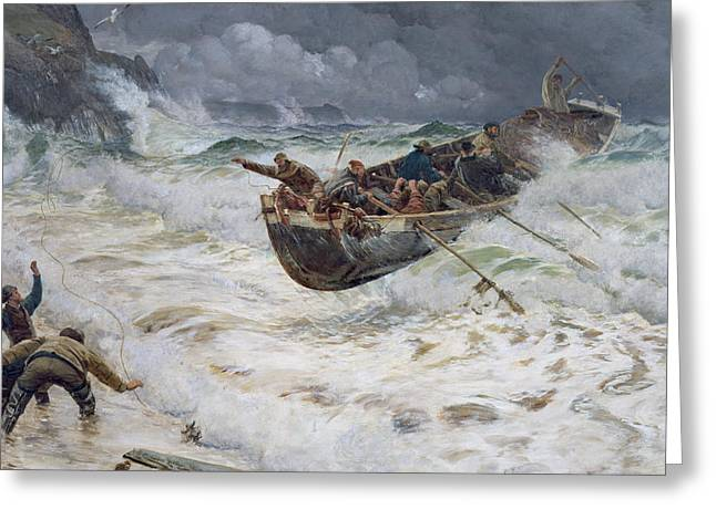 Lifeboat Greeting Cards - How the Boat Came Home Greeting Card by  Charles Napier Hemy