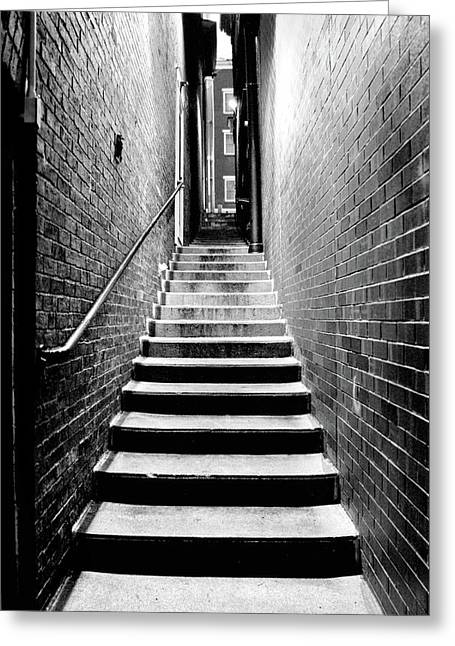 Alley Stairs Greeting Cards - How Work Feels Greeting Card by Greg Fortier