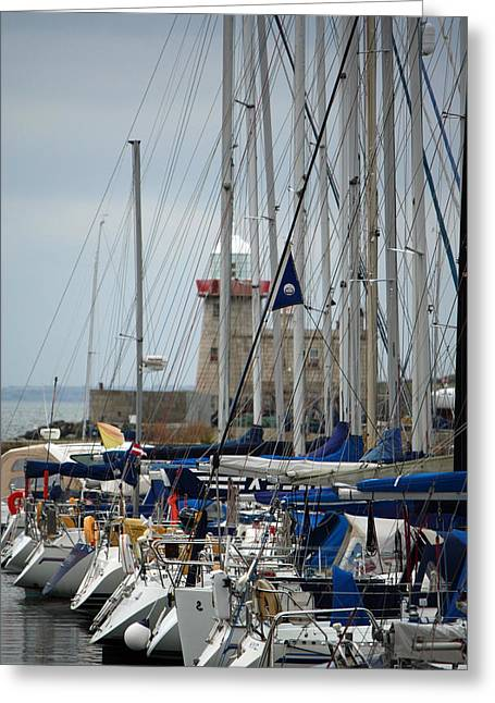 Sailboat Ocean Greeting Cards - Howth Lighthouse 0003 Greeting Card by Carol Ann Thomas