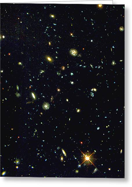 Wfpc2 Greeting Cards - Hst Deep-view Of Several Very Distant Galaxies Greeting Card by Nasaesastscir.williams, Hdf-s Team