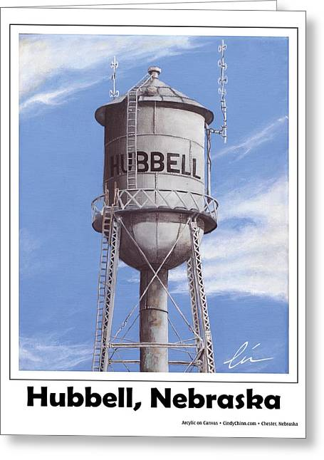 Hubbell Greeting Cards - Hubbell Water Tower Poster Greeting Card by Cindy D Chinn