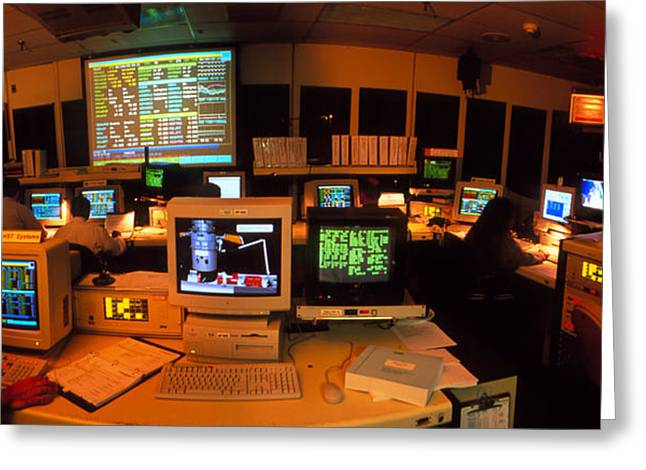 Hst Greeting Cards - Hubble Space Telescope Control Room Greeting Card by David Parker