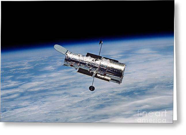 Hubble Space Telescope Views Greeting Cards - Hubble Space Telescope In Orbit Greeting Card by Stocktrek Images