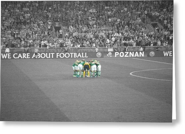 Euro 2012 Greeting Cards - Huddle Greeting Card by Ian Campbell