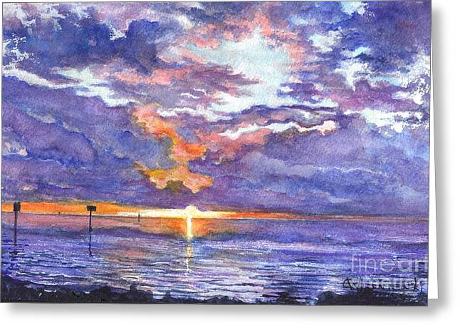 Formation Drawings Greeting Cards - Hudson Beach Sunset Florida Greeting Card by Carol Wisniewski