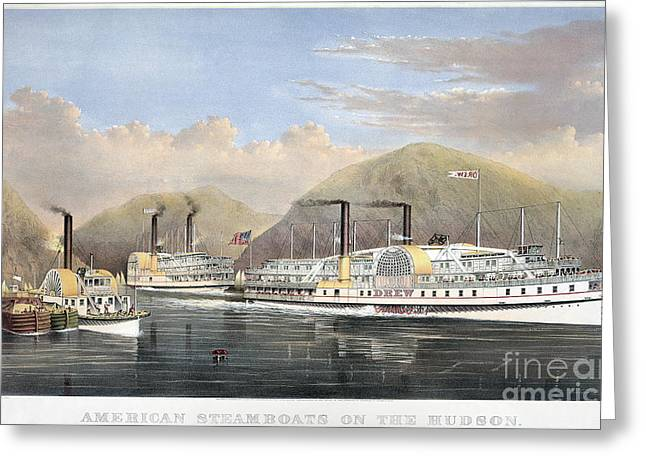 Paddle Wheel Greeting Cards - Hudson River Steamships Greeting Card by Granger