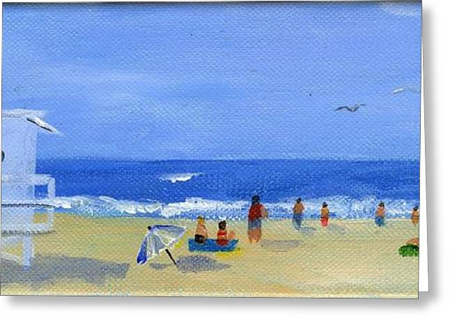 Gallery Wrap Paintings Greeting Cards - Hueneme Beach  Greeting Card by Sheryl Heatherly Hawkins