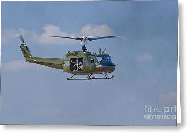 7th Army Greeting Cards - Huey Inbound Greeting Card by Tim Mulina
