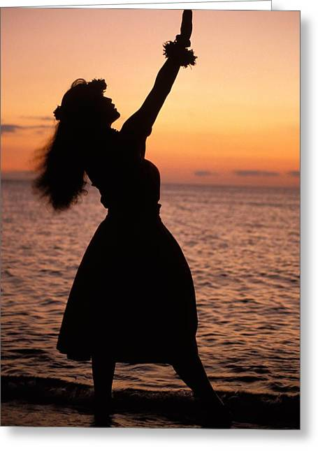 Aloha From Hawaii Greeting Cards - Hula At Sunset Greeting Card by Allan Seiden - Printscapes