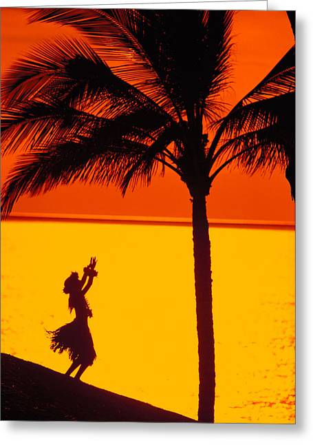 Hula Greeting Cards - Hula At Sunset Greeting Card by Ron Dahlquist - Printscapes