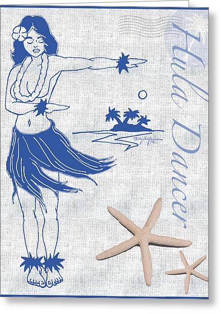 Online Art Pastels Greeting Cards - Hula Dancer Greeting Card by William Depaula