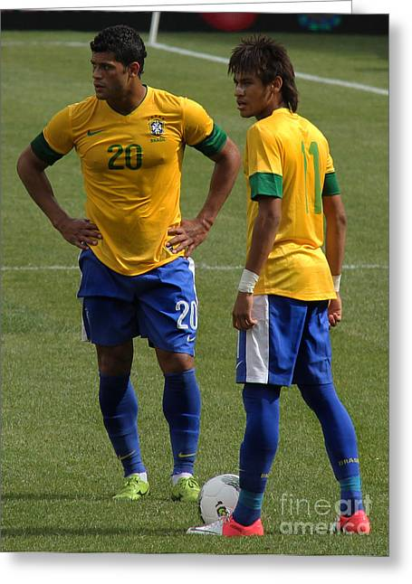 Clash Of Worlds Greeting Cards - Hulk and Neymar Ready for the Shot Greeting Card by Lee Dos Santos