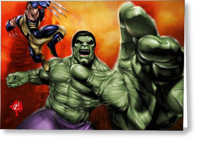 X-men Greeting Cards - Hulk Greeting Card by Pete Tapang