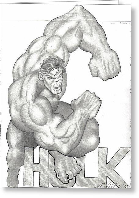 Refurbished Photos Drawings Greeting Cards - Hulk Greeting Card by Rick Hill