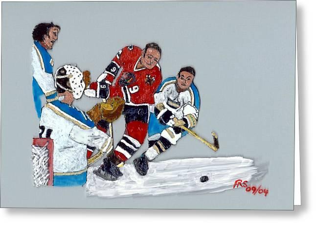 Hockey Paintings Greeting Cards - Hull Deflected Greeting Card by Phil Strang