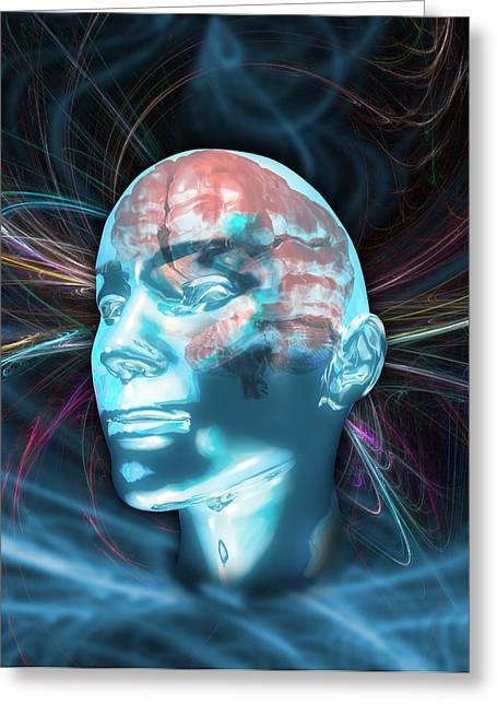 Central Nervous System Greeting Cards - Human Brain Greeting Card by Victor Habbick Visions