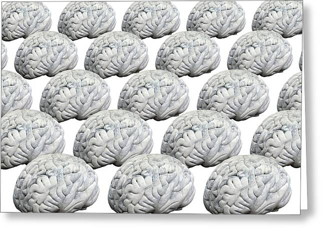 Psychological Background Greeting Cards - Human Brains, Artwork Greeting Card by Victor De Schwanberg