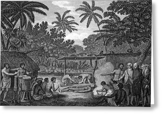 Human Sacrifice Artwork Greeting Cards - Human Sacrifice In Tahiti, Artwork Greeting Card by Cci Archives