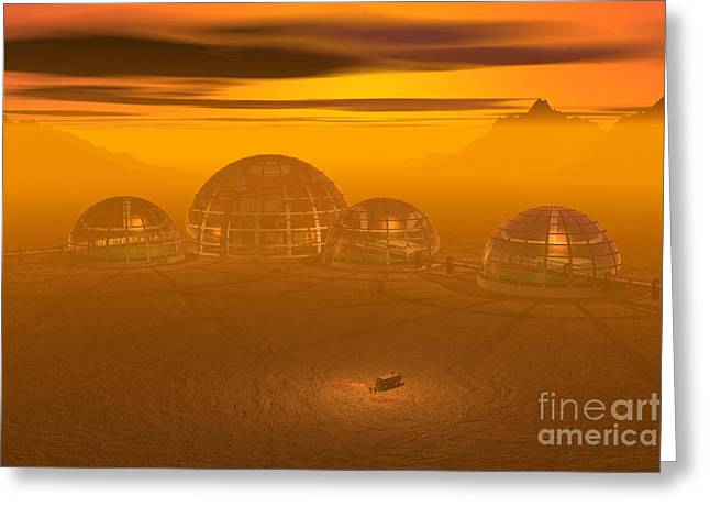 Artists Colony Greeting Cards - Human Settlement on Alien Planet Greeting Card by Carol and Mike Werner and Photo Researchers