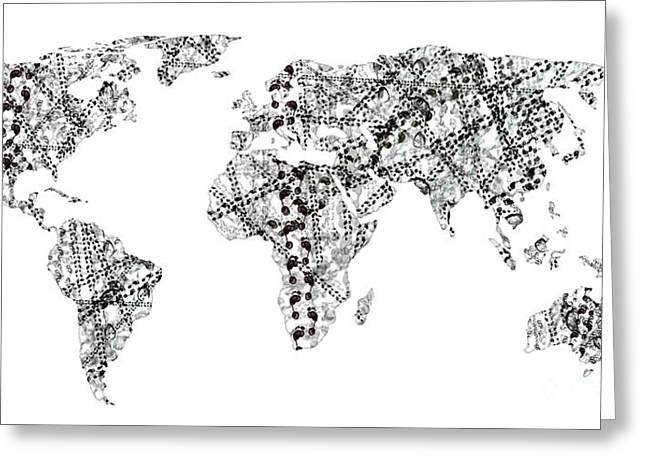 Continent Mixed Media Greeting Cards - Human Tracks On The World Greeting Card by Michal Boubin