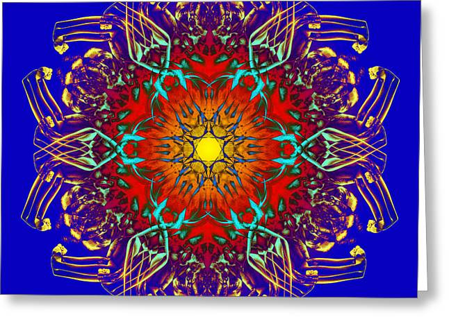 Vivid Colour Greeting Cards - HuMandala 1 Greeting Card by David Kleinsasser