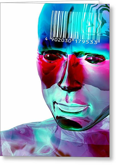 Programming Greeting Cards - Humanoid And Barcode, Artwork Greeting Card by Laguna Design