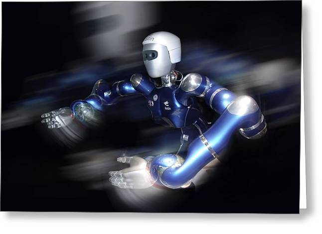 Future Tech Photographs Greeting Cards - Humanoid Robot, Artwork Greeting Card by Detlev Van Ravenswaay