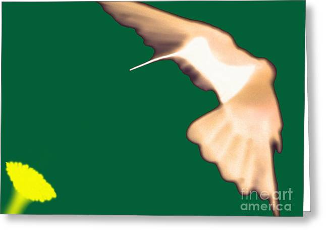 Hovering Greeting Cards - Hummingbird Abstract Greeting Card by Al Bourassa