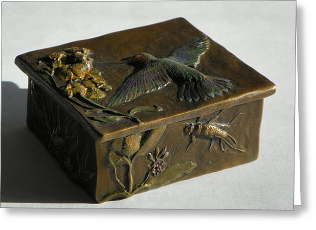 Insect Sculptures Greeting Cards - Hummingbird Box with Painted Patina - stonefly side Greeting Card by Dawn Senior-Trask