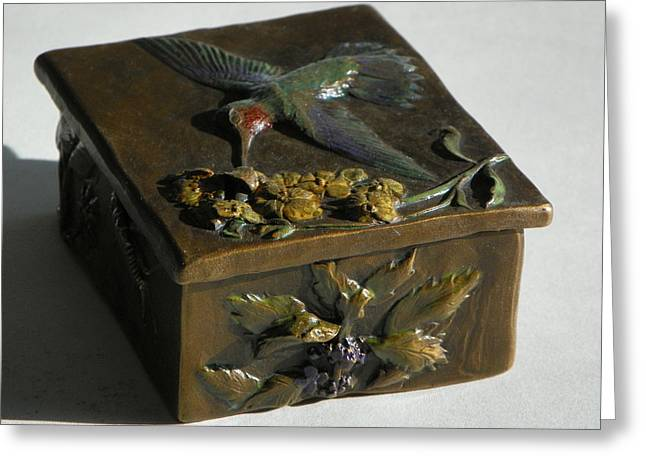 Insect Sculptures Greeting Cards - Hummingbird Box with Painted Patina - wild mint side Greeting Card by Dawn Senior-Trask