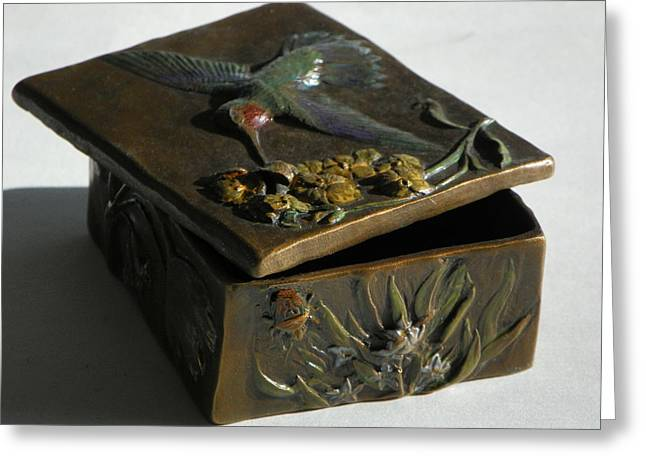 Insect Sculptures Greeting Cards - Hummingbird Box with Painted Patina - Y bug side Greeting Card by Dawn Senior-Trask
